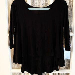 Solid Black 3/4 Sleeves Women's Shirt
